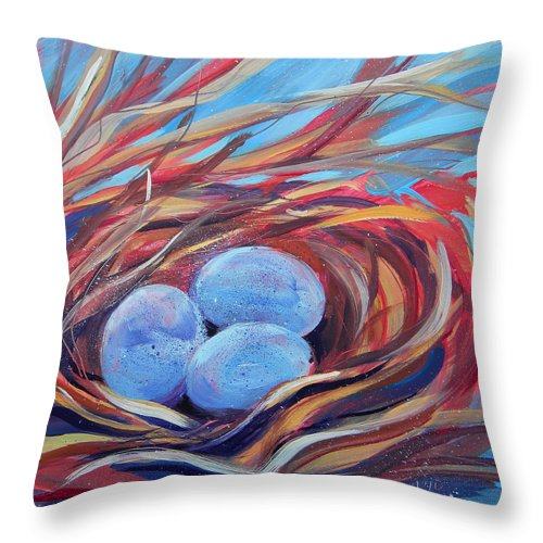 Eggs Throw Pillow featuring the painting Nest Of Prosperity 3 by Pam Van Londen