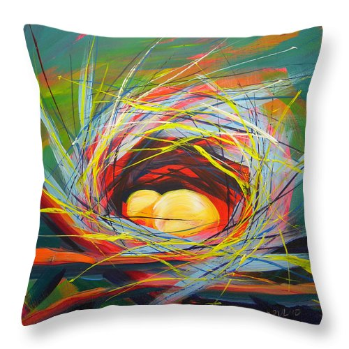 Nest Throw Pillow featuring the painting Nest Of Prosperity 7 by Pam Van Londen