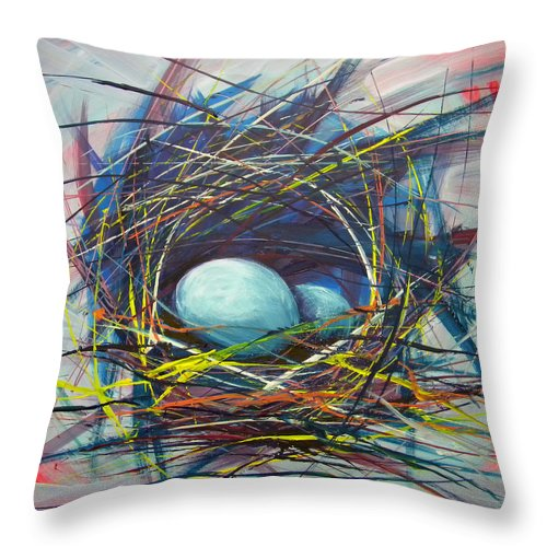 Eggs Throw Pillow featuring the painting Nest Of Prosperity 8 by Pam Van Londen