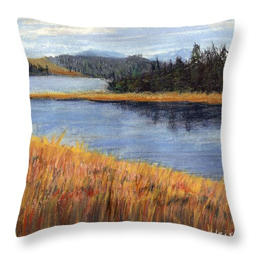 Pastels Throw Pillow featuring the painting Nestucca River And Bay by Chriss Pagani
