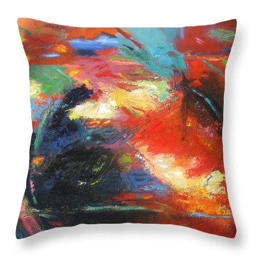 Abstract Throw Pillow featuring the painting New Direction 1 by Gary Coleman
