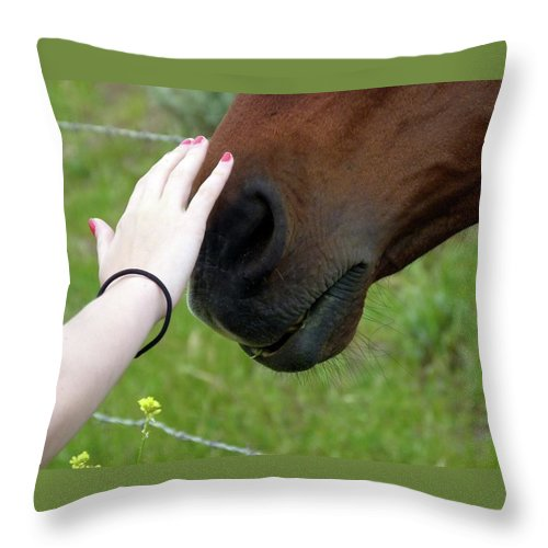 Horse Throw Pillow featuring the photograph New Friends by Jeff Lowe
