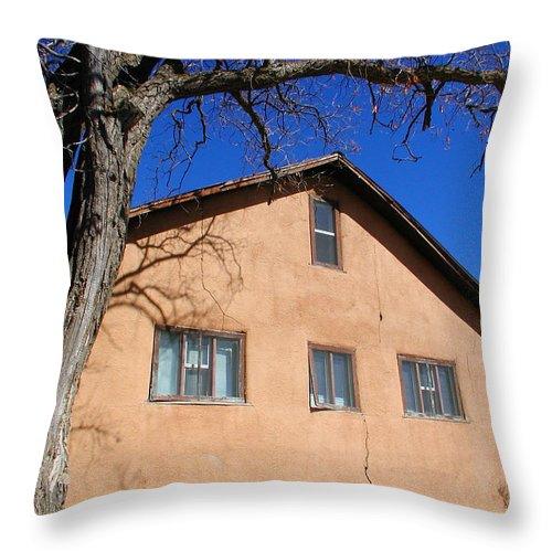 Southwestern Throw Pillow featuring the photograph New Mexico Series - Adobe Building by Kathleen Grace