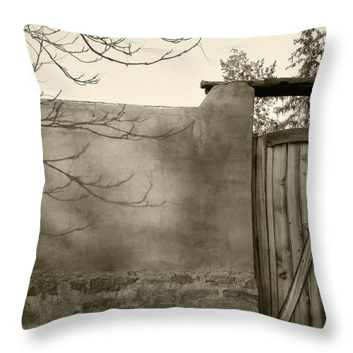 Doorway Throw Pillow featuring the photograph New Mexico Series - Doorway II Black And White by Kathleen Grace