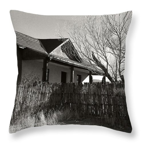 New Mexico Throw Pillow featuring the photograph New Mexico Series - Fenced In House by Kathleen Grace