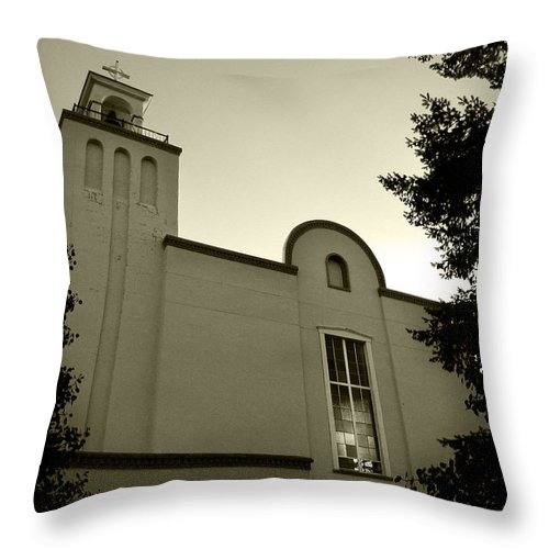 Church Throw Pillow featuring the photograph New Mexico Series - Our Lady Of Guadalupe Church by Kathleen Grace
