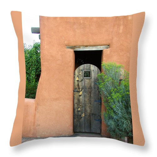 Southwestern Throw Pillow featuring the photograph New Mexico Series - Santa Fe Doorway by Kathleen Grace