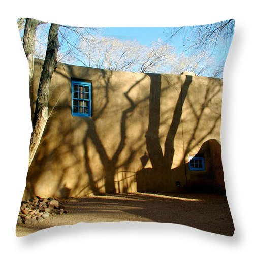 Landscape Throw Pillow featuring the photograph New Mexico Series - Shadows On Adobe by Kathleen Grace