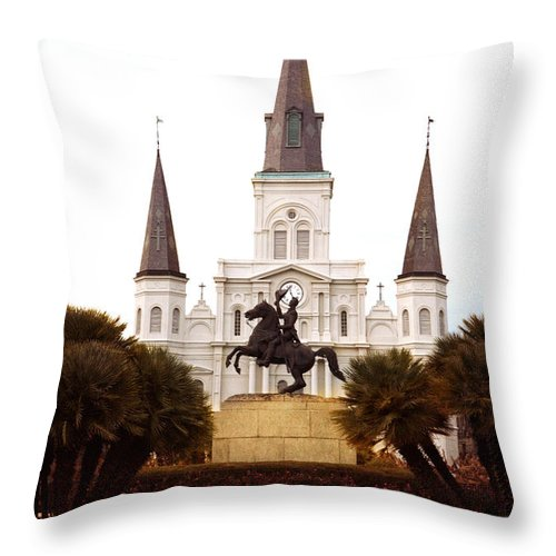 New Orleans Throw Pillow featuring the photograph New Orleans St. Louis Cathedral by Kim Fearheiley