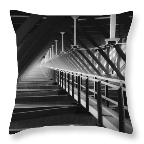 Bridgewalk Throw Pillow featuring the photograph New River Gorge Bridge Catwalk by Teresa Mucha