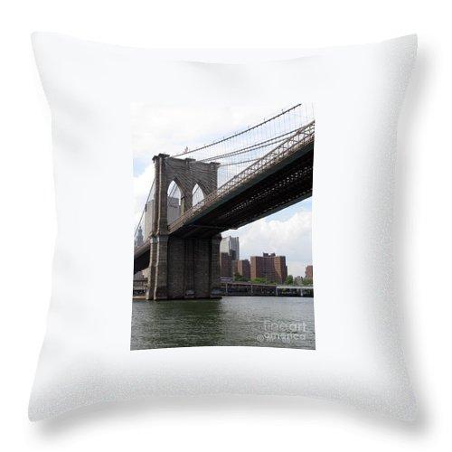 Urban Throw Pillow featuring the photograph New York Bridges 1- Brooklyn Bridge by Ausra Huntington nee Paulauskaite