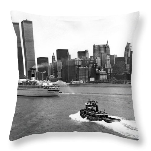 1970's Throw Pillow featuring the photograph New York City Harbor by Underwood Archives