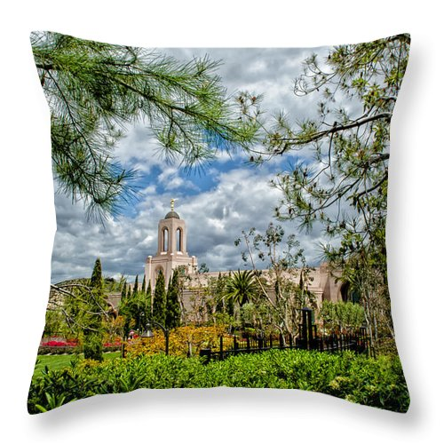 Architecture Throw Pillow featuring the photograph Newport Beach Temple Pine by La Rae Roberts