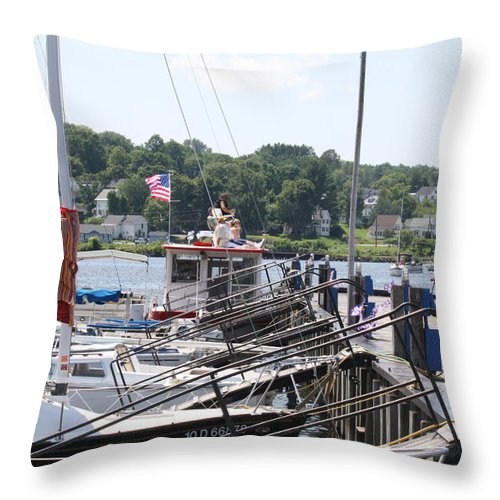 Boats Throw Pillow featuring the photograph Newport Vermont Marina by Donna Walsh
