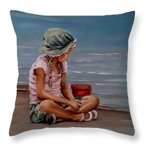 Seascape Throw Pillow featuring the painting Next To The Shore by Natalia Tejera