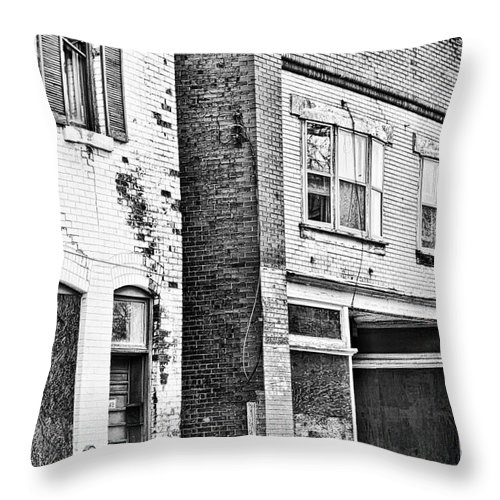 Niagara Throw Pillow featuring the photograph Niagara Buildings Bw by Traci Cottingham