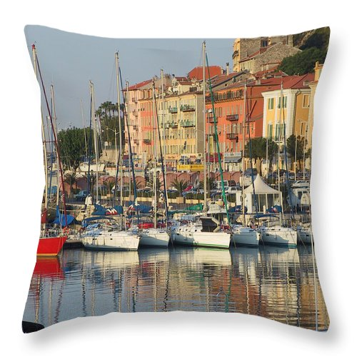 Nice Harbor. Boats Throw Pillow featuring the painting Nice Harbor Red Boat by Len Yurovsky