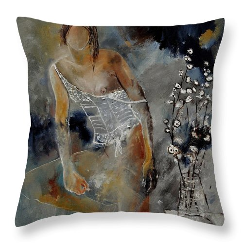Nude Throw Pillow featuring the painting Nide 6621901 by Pol Ledent