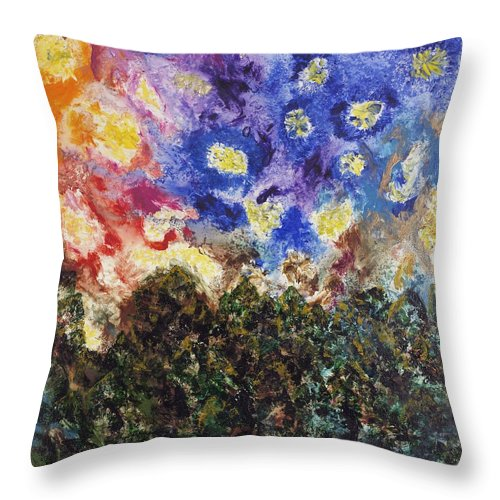 Abstract Landscape Throw Pillow featuring the painting Night And Day by Mr Dill