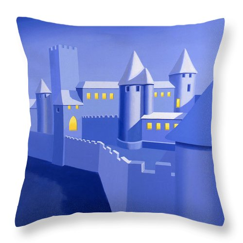 Castle Throw Pillow featuring the painting Night Castle by John Bowers