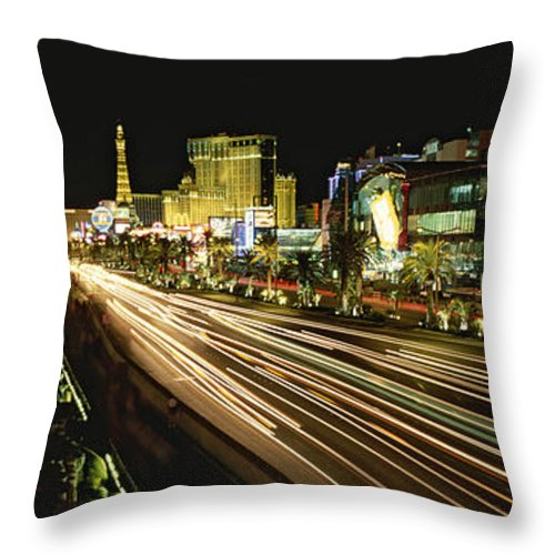 North America Throw Pillow featuring the photograph Night Exposure Of The Strip On Las by Rich Reid