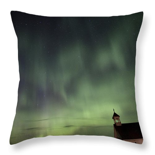 Sky Throw Pillow featuring the photograph Night Shot Northern Lights Country Church by Mark Duffy