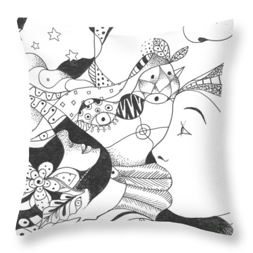 Surreal Throw Pillow featuring the drawing No Ordinary Dream by Helena Tiainen