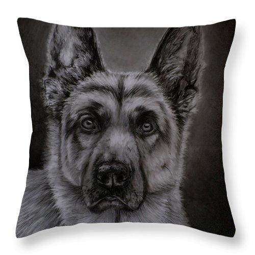 German Shepherd Dog Throw Pillow featuring the painting Noble - German Shepherd Dog by Michelle Wrighton