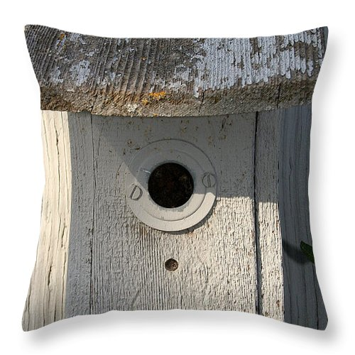 Birdhouse Throw Pillow featuring the photograph Nobody Home by Susan Herber