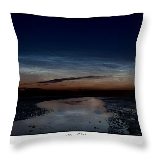 Noctilucent Clouds Throw Pillow featuring the photograph Noctilucent Clouds And Shooting Star by Beverly Cash