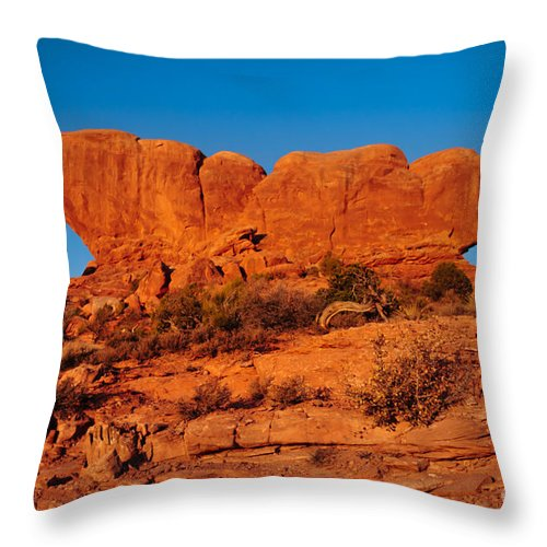 Arches Throw Pillow featuring the photograph North And South Windows by Robert Bales