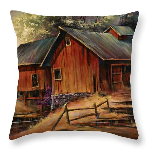 Landscape Throw Pillow featuring the painting North Country by Michael Lang