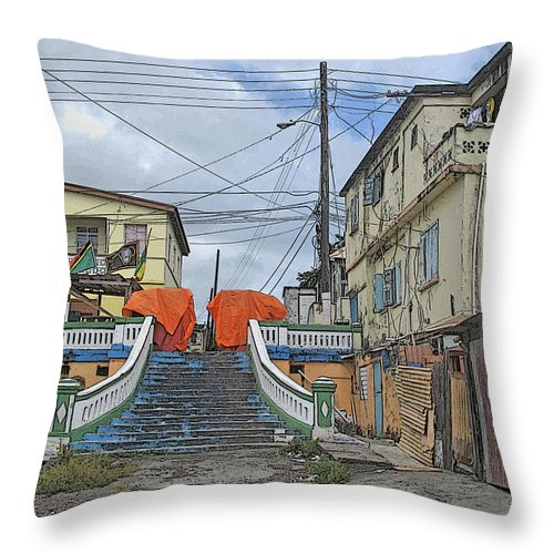 St Kitts Throw Pillow featuring the photograph Not The Spanish Steps by Ian MacDonald
