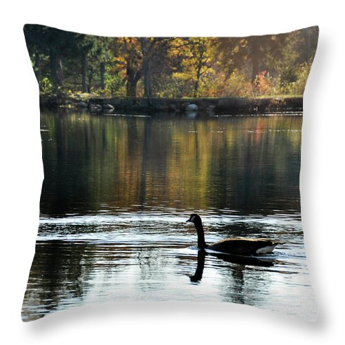 Foliage Throw Pillow featuring the photograph November's Dance by Joanne Brown