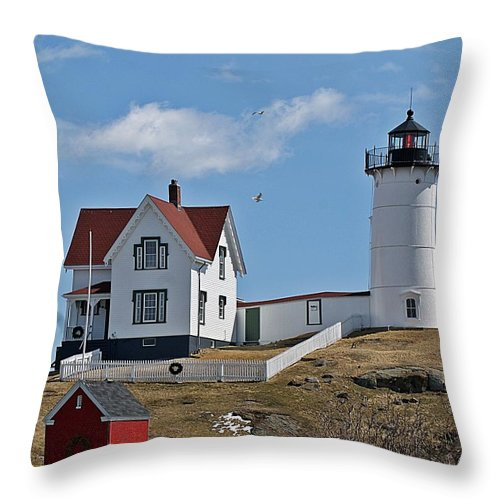 Nubble Light Throw Pillow featuring the photograph Nubble Light IIi by Joe Faherty