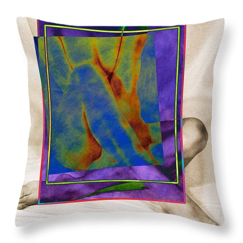 Art Throw Pillow featuring the pyrography Nude 3 by Mauro Celotti