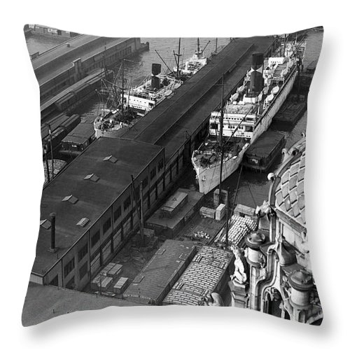 1930s Throw Pillow featuring the photograph Ny Docks View by Underwood Archives
