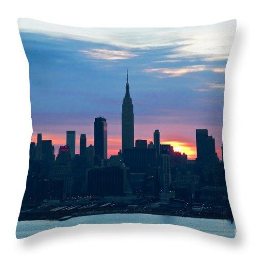 Ny Skyline Throw Pillow featuring the photograph Ny Skyline Blue Dawn by Regina Geoghan