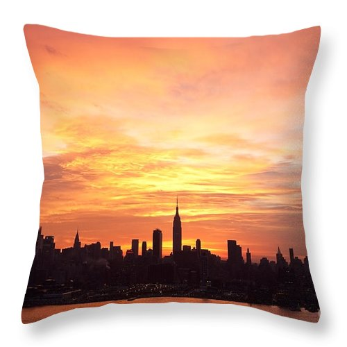 Ny Skyline Throw Pillow featuring the photograph Ny Skyline -daybreak Splendor by Regina Geoghan