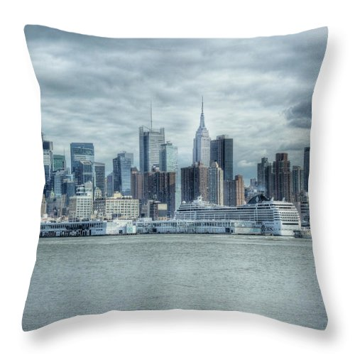 Cityscape Throw Pillow featuring the photograph Nyc Skyline by Rob Narwid