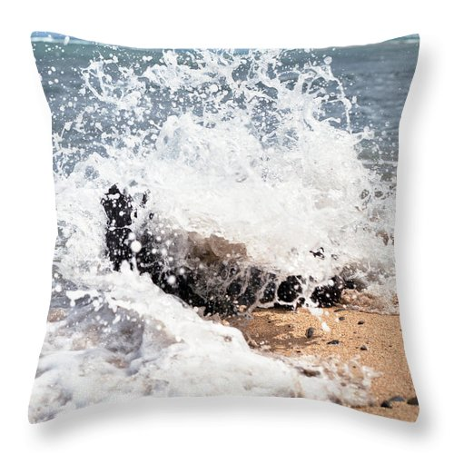 Driftwood Throw Pillow featuring the photograph Oahu North Shore Splash by John Bowers
