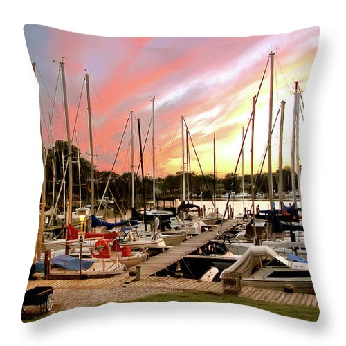 2d Throw Pillow featuring the photograph Oak Pt Harbor At Sunset by Brian Wallace