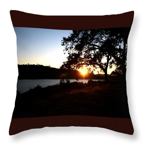 Landscape Throw Pillow featuring the photograph Oak Tree Sunset by Leonard Sharp