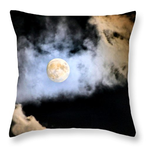 Moon Throw Pillow featuring the photograph Obscured By Clouds by Kristin Elmquist