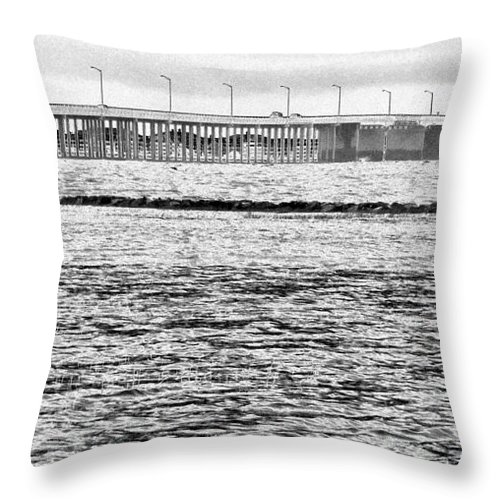 Sketch Throw Pillow featuring the photograph Ocean City Bridge by Rrrose Pix