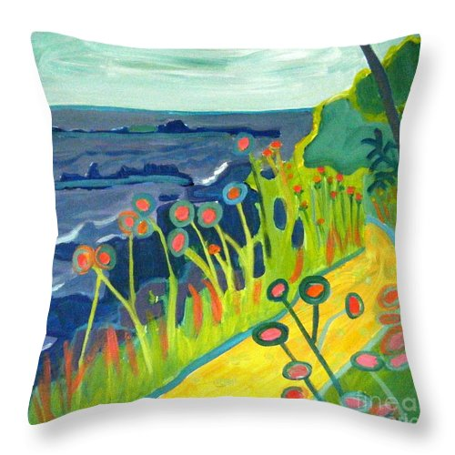 Seascape Throw Pillow featuring the painting Ocean Path Kittery Maine by Debra Bretton Robinson