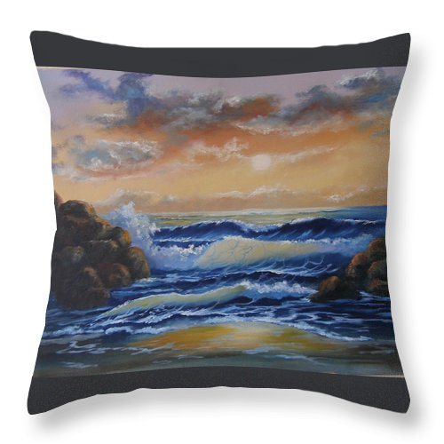 Seascape Throw Pillow featuring the painting Ocean Study In Blue by Mark Perry