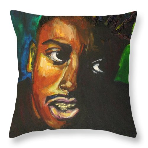 Ol' Dirty Bastard Throw Pillow featuring the painting ODB by Kate Fortin