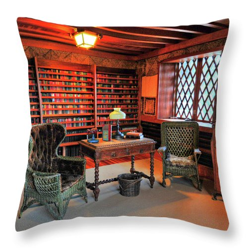 Office Throw Pillow featuring the photograph Office At Gillette Castle by Dave Mills