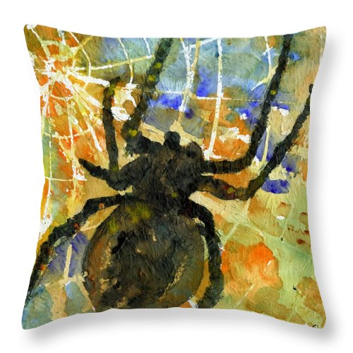 Spider Art Throw Pillow featuring the painting Oh What A Tangled Web We Weave by SchulmanArt